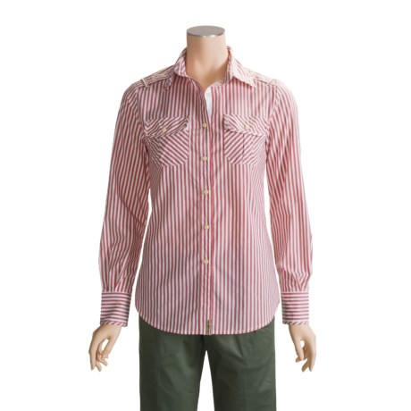 Infantry Division Cotton-Rich Striped Shirt - Long Sleeve (For Women)