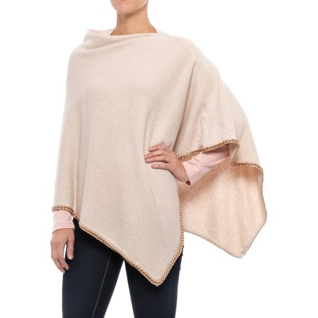 La Fiorentina Knit Poncho - Chain Trim (For Women)