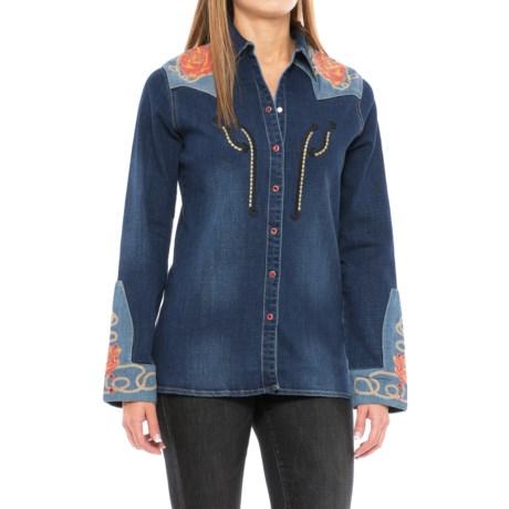 Wrangler Rodeo Quincy Embellished Denim Shirt - Snap Front, Long Sleeve (For Women)