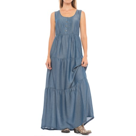 Wrangler Tiered Chambray Maxi Dress - Sleeveless (For Women)