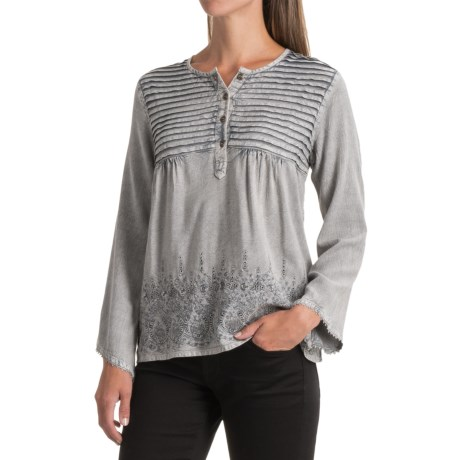 Studio West Pintuck Embroidered Shirt -  Long Sleeve (For Women)