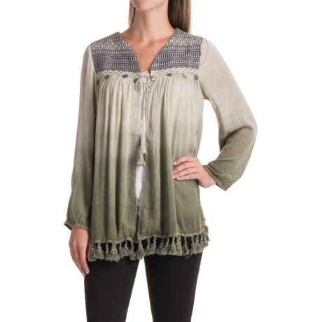 Studio West Fringe Hem Crinkle Cardigan Shirt - Open Front, Long Sleeve (For Women)
