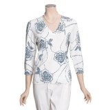 Linea Blu Knit Pullover Shirt - Cotton, 3/4 Sleeve (For Women)