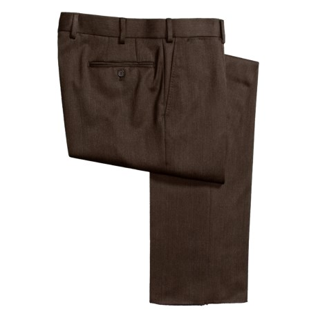 Isaia Heathered Wool Pants - Flat Front (For Men)