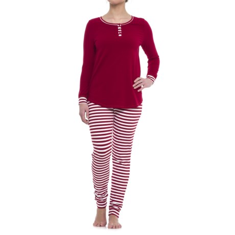 Isaac Mizrahi Weekend Striped Henley with Printed Leggings Pajamas - Long Sleeve (For Woman)