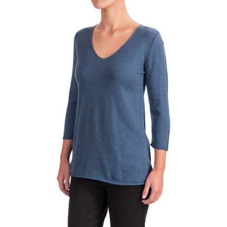 Indigenous Pointelle Sweater - Organic Cotton, 3/4 Sleeve (For Women)
