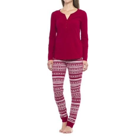 Cynthia Rowley Henley Pajamas - Long Sleeve (For Women)
