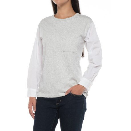 Specially made Crew Neck Pocket T-Shirt - Long Sleeve (For Women)