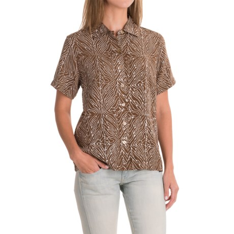 Specially made Bali Print Rayon Camp Shirt - Short Sleeve (For Women)
