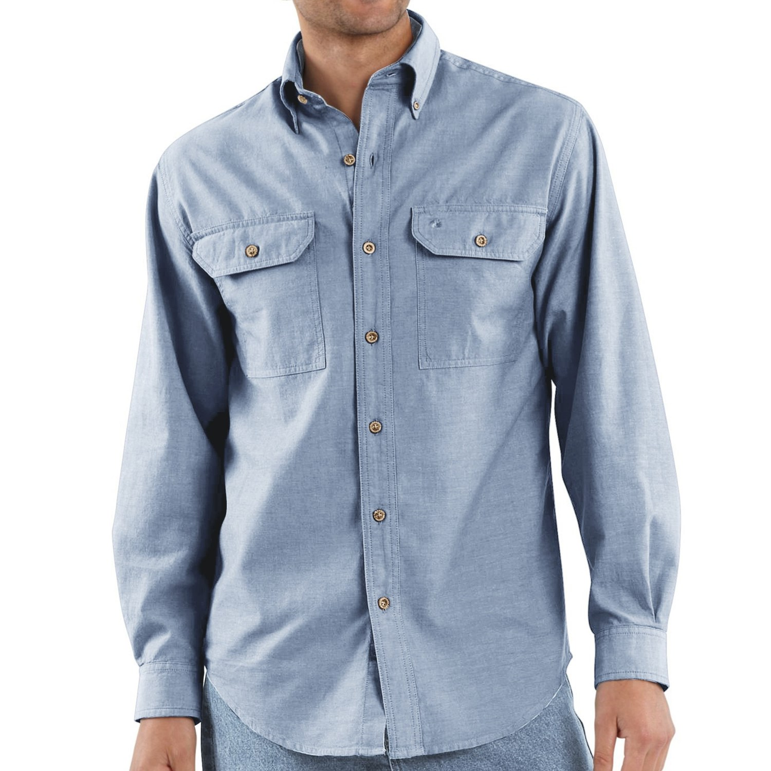 Carhartt chambray work shirt for men 2854d for Chambray long sleeve shirt