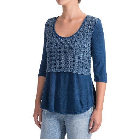 Studio West Crochet Overlay Shirt - 3/4 Sleeve (For Women)