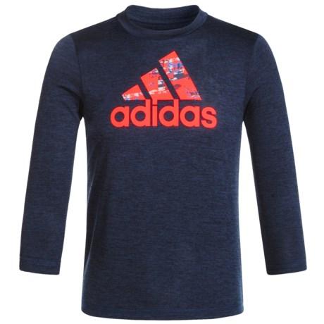 adidas Logo Melange T-Shirt - Long Sleeve (For Little Boys)