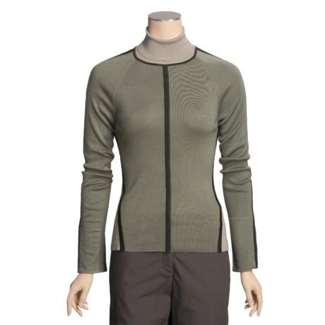 Yansi Fugel Color-Block Turtleneck Sweater - Stretch Silk, Zip Long Sleeve (For Women)