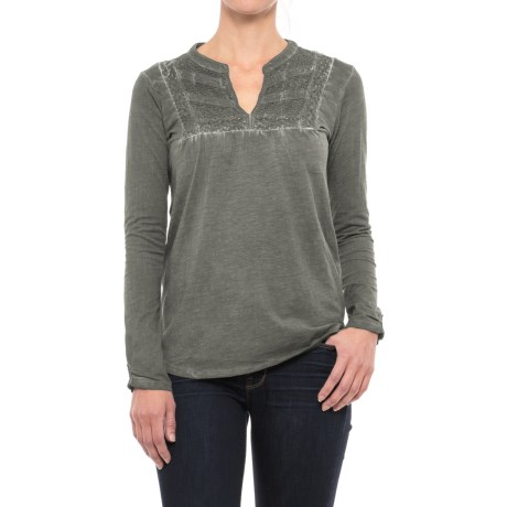 Maison Coupe Enzyme-Washed Embroidered Shirt - Long Sleeve (For Women)