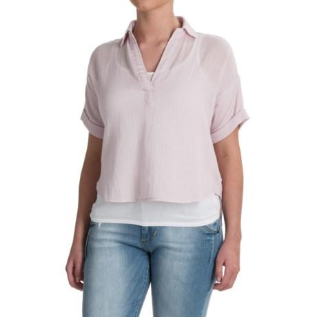 Specially made High-Low Gauze Crop Shirt - Short Sleeve (For Women)