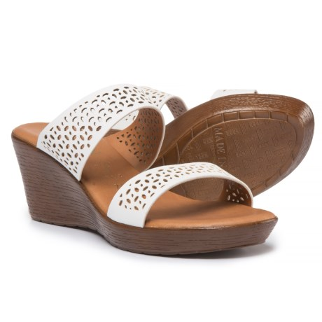 Italian Shoemakers Double-Band Wedge Sandals - Vegan Leather (For Women)