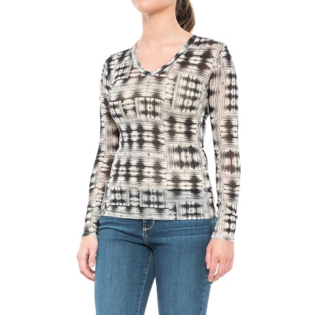 Specially made Stretch Rayon Printed V-Neck Shirt - Long Sleeve (For Women)