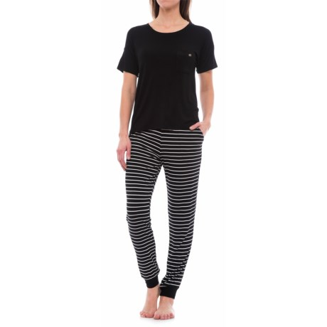 Nicole Miller Stretch Rayon Jogger Pajamas - Short Sleeve (For Women)