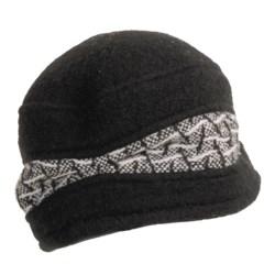 Asian Eye Tweedy Wool Cap - Herringbone Trim (For Women)