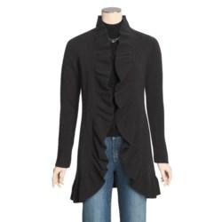 Forte Cashmere Long Cardigan Sweater - Ruffle Trim (For Women)