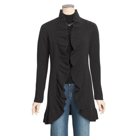 Forte Cashmere Long Cardigan Sweater - Ruffle Trim (For Women)