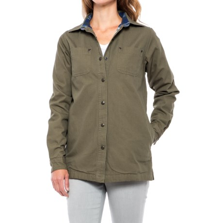 Backpacker Canvas and Flannel Shirt Jacket - Snap Front (For Women)