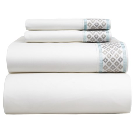 Coyuchi Diamond Cuff Sheet Set - Queen, Organic Cotton