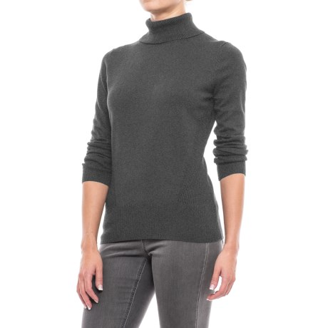 Cable & Gauge Rib-Trim Turtleneck Sweater (For Women)