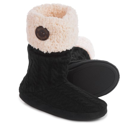Dearfoams Tall Cable Fair Isle Boot Slippers (For Women)