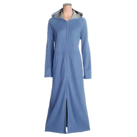 Cotton Zip Hooded Robe (For Women)