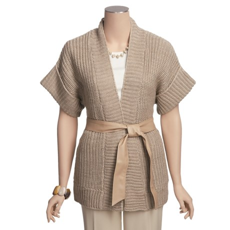 August Silk Chunky Knit Cardigan Sweater - Extended Short Sleeve (For Women)