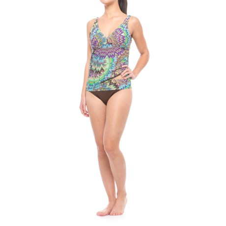 Sunsets Open-Back Tankini Set - Underwire, Removable Cups, Brief Bottoms (For Women)
