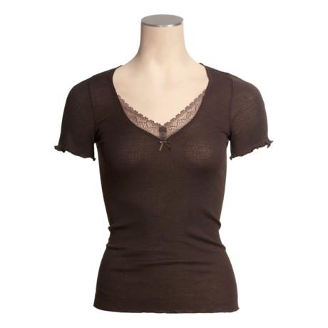 Calida Wealth Shirt - Wool-Silk, Short Sleeve (For Women)