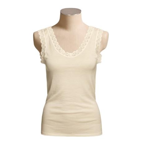 Calida Wool-Silk Tank Top - Lace Trim (For Women)