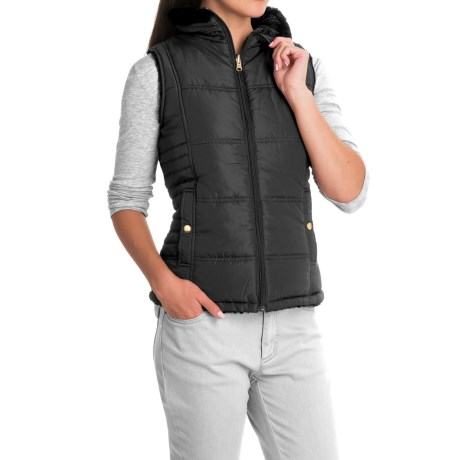 KC Collection s Faux-Fur Reversible Vest (For Women)