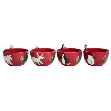 PTS America Arctic Holiday Earthenware Salad Bowls - Set of 4