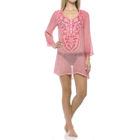 Natural Impressions V-Neck Henley Cover-Up - Long Sleeve (For Women)