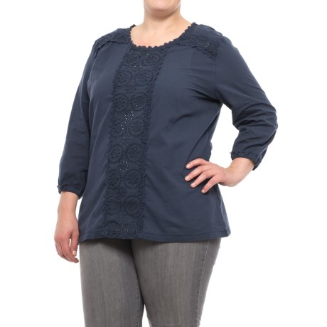 North River Solid Crochet Voile Shirt - 3/4 Sleeve (For Plus Size Women)