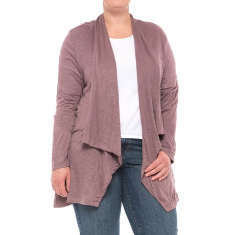 North River Solid Viscose Cardigan Shirt - Long Sleeve (For Plus Size Women)