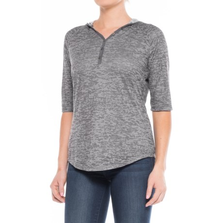 North River Burnout Henley Hoodie - Elbow Sleeve (For Women)
