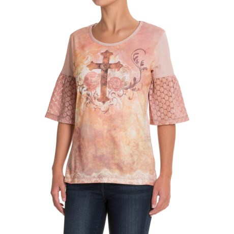 North River American Canvas Flair Print Shirt - Crew Neck, Elbow Sleeve (For Women)