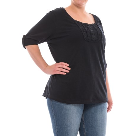 North River Slub Jersey Henley Shirt - 3/4 Sleeve (For Plus Size Women)