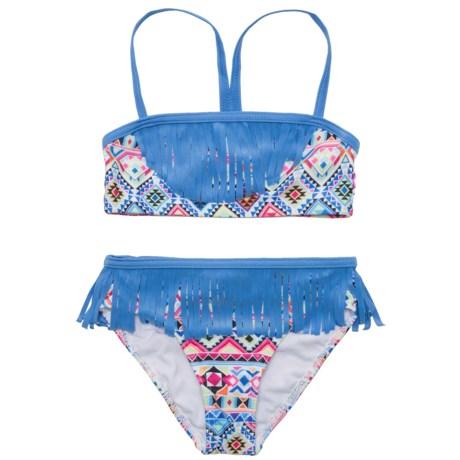 Jantzen Pattern and Fringe Bikini Set - UPF 50+ (For Little Girls)