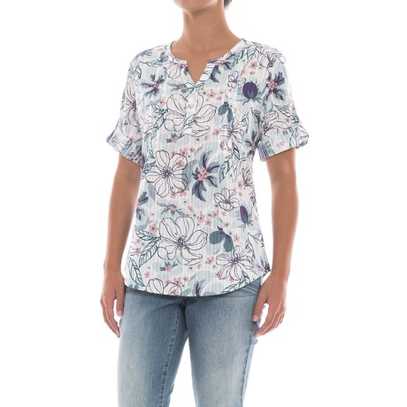 North River Dobby Print Roll-Tab Shirt - Elbow Sleeve (For Women)