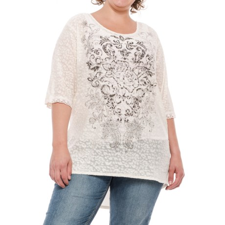 North River Burnout Print Jersey Crew Shirt - Elbow Sleeve (For Plus Size Women)