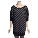 Cullen Dolman Tunic Sweater - Merino Wool-Cotton, Diagonal Stripe (For Women)