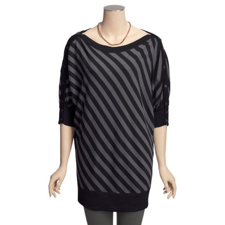 Cullen Dolman Tunic Sweater - Merino Wool-Cotton, Diagonal Stripe (For Women)
