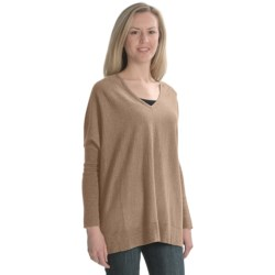 Cullen Poncho Sweater - Merino Wool-Cotton, V-Neck, 3/4 Sleeve (For Women)