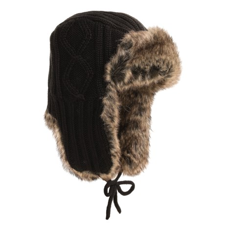 Auclair Cable-Knit Ear Flap Hat - Faux Fur (For Men and Women)