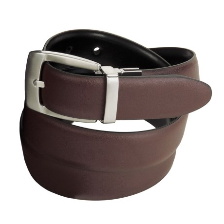 Remo Tulliani Reversible Leather Belt with Nickel Swivel Buckle (For Men)